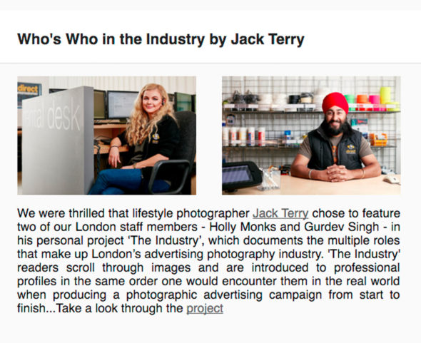 - Direct Photographic newsletter feature - Jack Terry